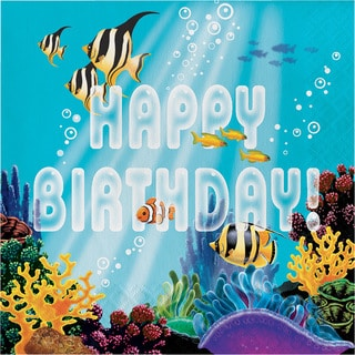 """Ocean Party """"Happy Birthday"""" Lunch Napkins (192 Count)"""