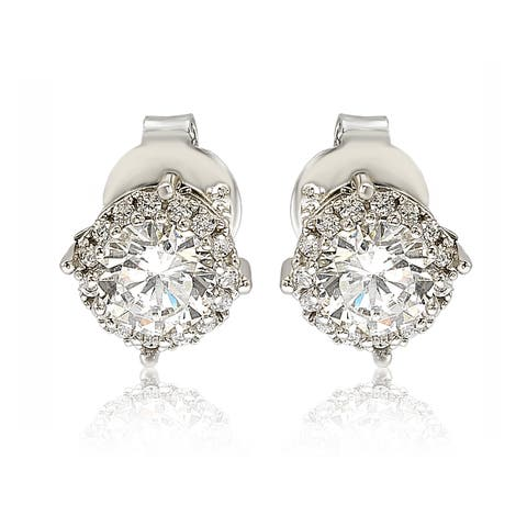 Suzy Levian Sterling Silver White Cubic Zirconia Round Stud Earrings