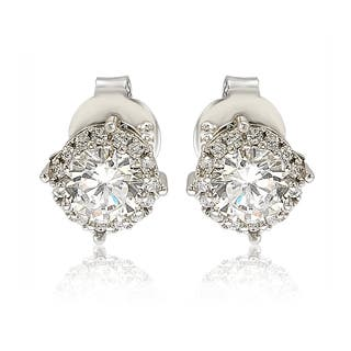 Suzy Levian Sterling Silver White Cubic Zirconia Round Stud Earrings|https://ak1.ostkcdn.com/images/products/14276250/P20861807.jpg?impolicy=medium