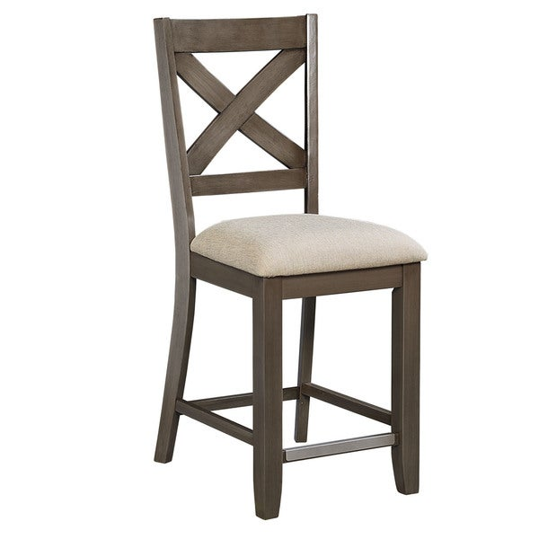Omaha Grey Wood And Fabric Counter Height Stool Set Of 2