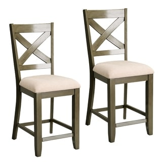 Omaha Grey Wood and Fabric Counter-height Stool Set of 2