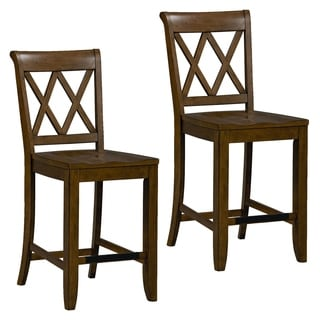 Vintage Counter Height Brown Wood Stools (Set of 2)