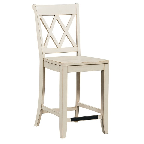 shop off white wood vintage counter height stool free shipping today 14276284. Black Bedroom Furniture Sets. Home Design Ideas