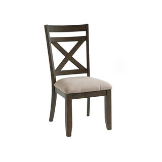 Carter Beige Upholstered and Brown Pine Dining Chair (Set of 2)