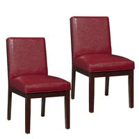 Couture Elegance Wood and Leather Dining Chair (set of 2)