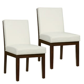 Couture Elegance White Leather and Wood Dining Chair