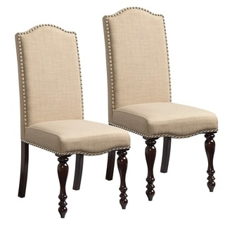 McGregor Flax Linen-look and Brown Wood Upholstered Dining Chairs (Set of 2)