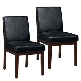 Couture Elegance Black Leather and Wood Dining Chair