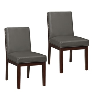 Couture Elegance Wood and Grey Bonded Leather Dining Chair (Set of 2)