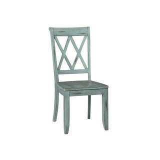 Distressed Blue Wood Vintage Dining Chair