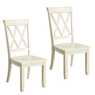 Vintage Off-white Wood Dining Chair (Set of 2)