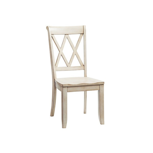 Ordinaire Vintage Off White Wood Dining Chair (Set Of 2)