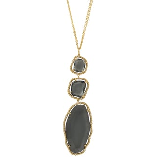 Luxiro Gold Finish Grey Sliced Glass Chunky Pendant Necklace