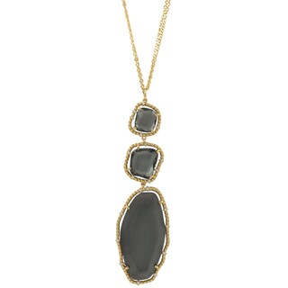 Luxiro Gold Finish Grey Sliced Glass Chunky Pendant Necklace - White