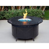 Cast Aluminum 47-inch Round Propane Firepit Chat Table with Fire Glass