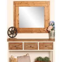 BrandtWorks Rustic Wooden Tier 32 x 36 - Inch Wall Mirror