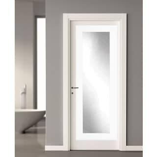 BrandtWorks Matte White 21.5 X 71   Inch Over The Door Full Length Mirror