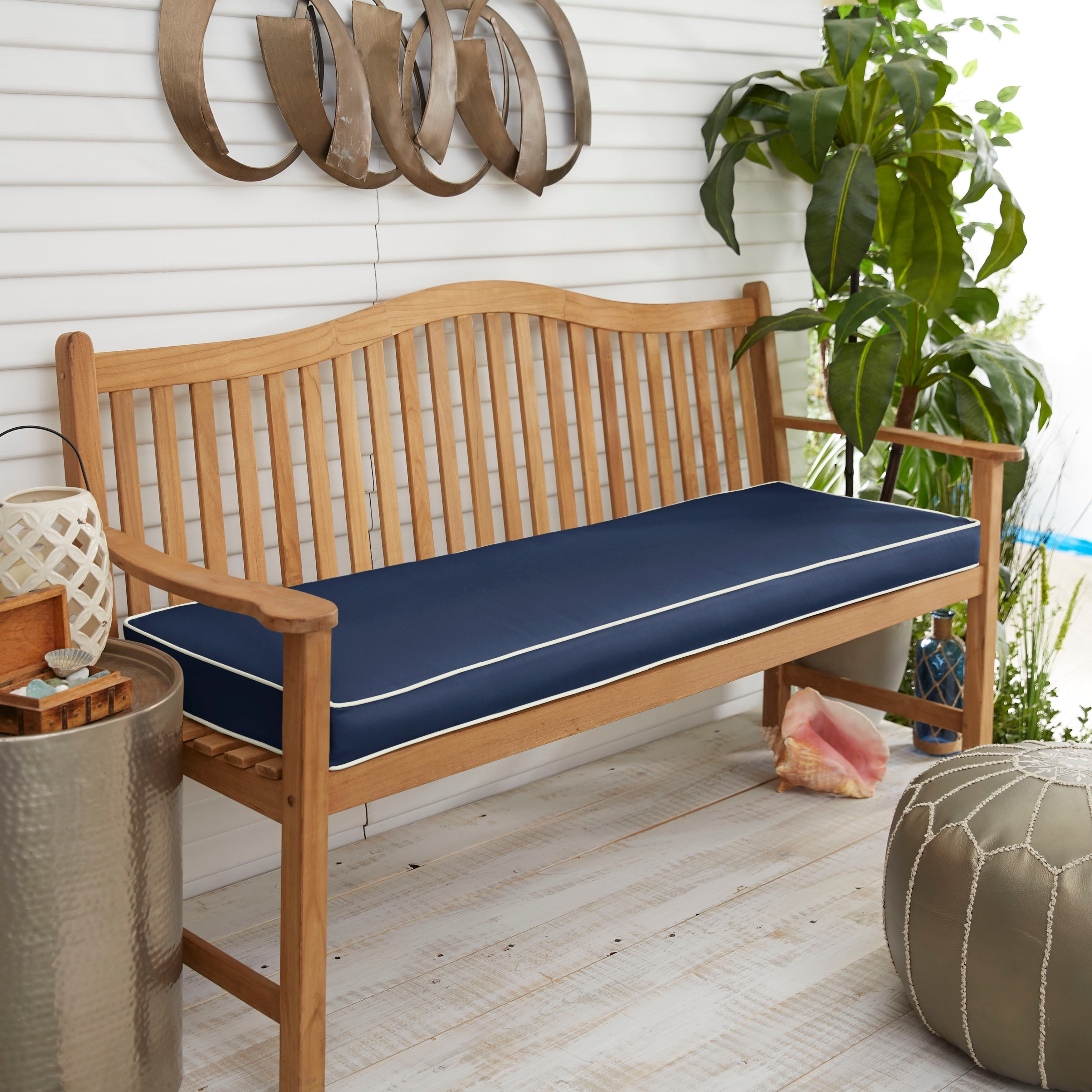 Corded Sunbrella Canvas Navy Indoor Outdoor Bench Cushion