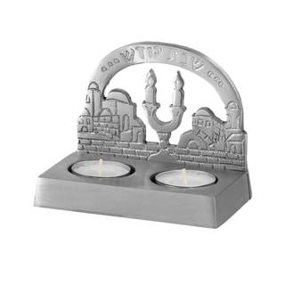 Zion Judaica Shabbat Twin Tea Light Candle Holder - Jerusalem
