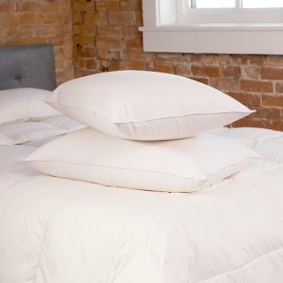 Responsibly Sourced 550 Fill Power Luxury White Down Pillow with Organic Cotton