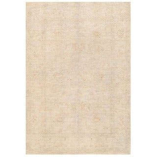 Herat Oriental Afghan Hand-knotted Vegetable Dye White Wash Oushak Wool Rug (5'5 x 7'9)