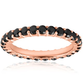 14K Rose Gold 1 1/2ct TDW Black Diamond Eternity Ring