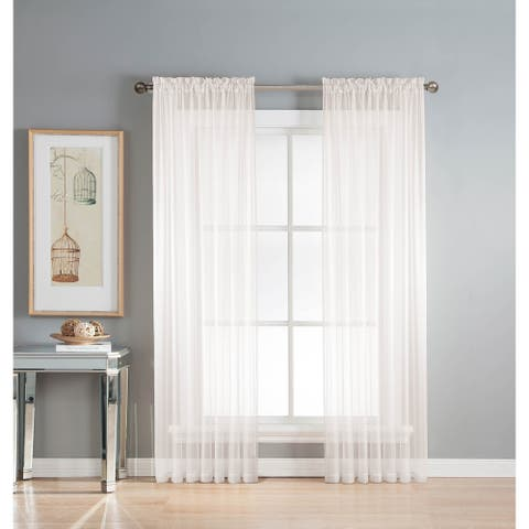 Window Elements Diamond Sheer Voile 56 x 90 in. Rod Pocket Curtain Panel - 56 x 90
