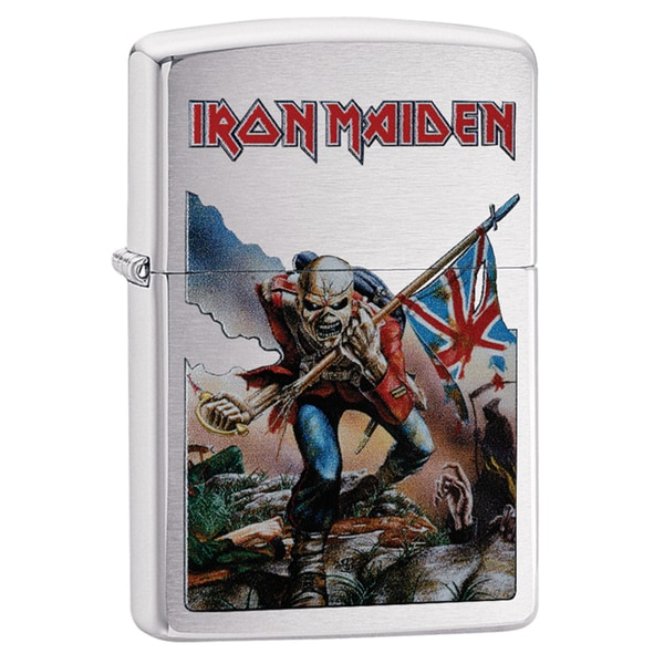 Zippo Iron Maiden Skeleton & Flag Chrome Windproof Lighter