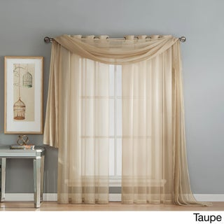 Window Elements Diamond Sheer Voile 216-inch Curtain Scarf (Option: Taupe)