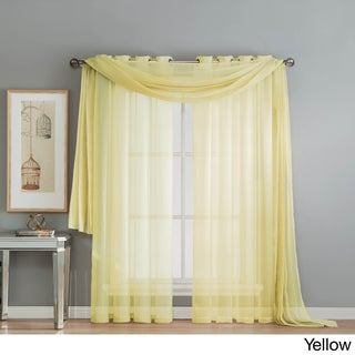 Window Elements Diamond Sheer Voile 216-inch Curtain Scarf (Option: Yellow)