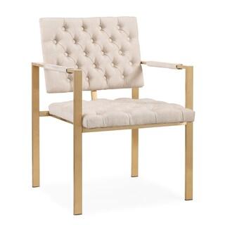 Emma Cream Textured Velvet Chair with Gold Legs