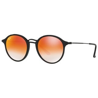 Ray-Ban RB2447 901/4W Round Fleck Black Frame Orange Gradient Flash 52mm Lens Sunglasses