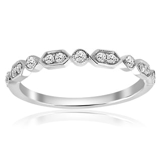 14K White Gold 1/8 ct TDW Diamond Stackable Womens Wedding Anniversary Ring