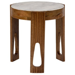 Handmade Wanderloot Deco White Marble and Wood End Table with 3 Keyhole Legs (India)