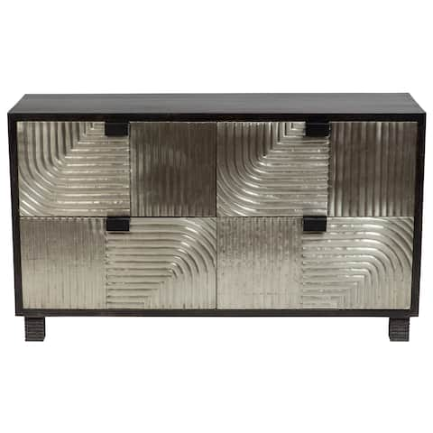 Handmade Wanderloot Bianca Scored Metal and Black Wash Sustainable Solid Mango Sideboard with 4 Drawers (India)