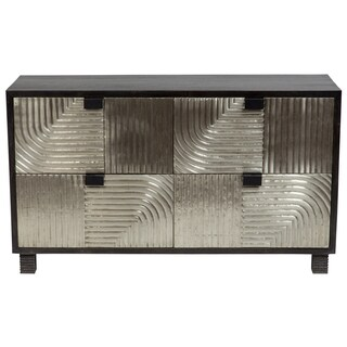 Wanderloot Bianca Scored Metal and Black Wash Sustainable Solid Mango Sideboard with 4 Drawers