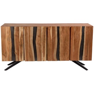Wanderloot Butte Ridge 4 Door Sideboard with Live Edge Solid Acacia Wood and Black Metal Flared Legs