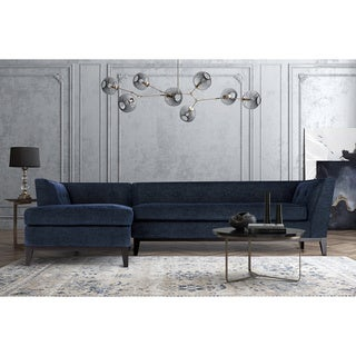 Jess Mid Century Grey Textured Linen LAF Sectional