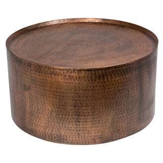 Handmade Wanderloot Rotonde Hammered Antique Copper Metal Industrial Round Coffee Table (India)