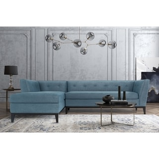 Jess Mid Century Azure Textured Linen LAF Sectional