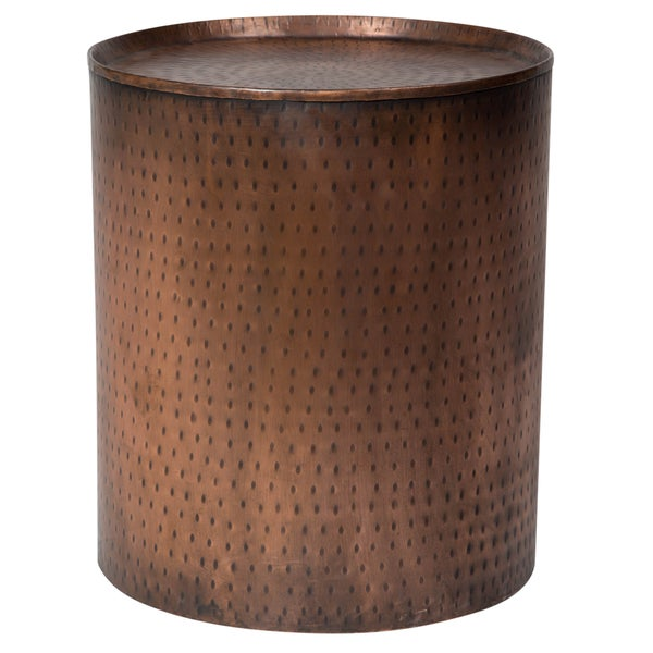 Handmade Wanderloot Rotonde Hammered Antique Copper Metal Industrial Round End Table (India)