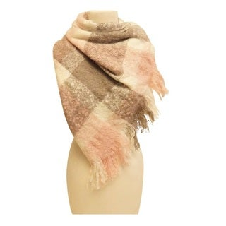 Mechaly Women's Pink and Grey Vegan Plaid Scarf