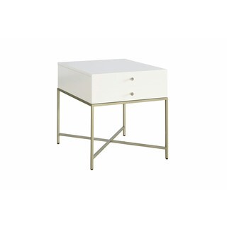 Hemming Glam White 1-drawer End Table