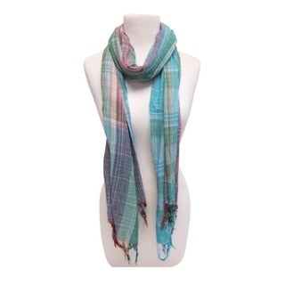 Mechaly Women's Soft Teal Viscose and Cotton Vegan Scarf