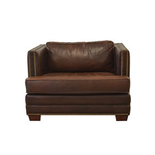 Millbury Genuine Top Grain Leather Nailhead Trimmed Armchair