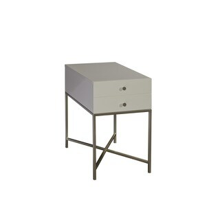 Hemming Glam White 1-drawer Rectangle Accent Table