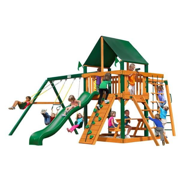 Gorilla Playsets Navigator w/ Timber Shield and Sunbrella Canvas Forest Green Canopy