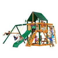 Gorilla Playsets Navigator Cedar Swing Set with Sunbrella Canvas Canopy and Timber Shield Posts
