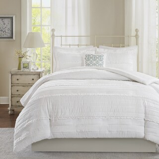 Madison Park Isabella 2-in-1 White Full/ Queen Size Duvet Cover Coverlet Set (As Is Item)