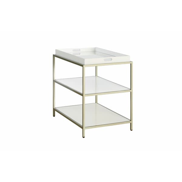 Contemporary Glam White Hemming End Table w/ Removable Tray